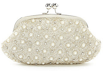 Kate Landry Pearl Kisslock Pouch Clutch