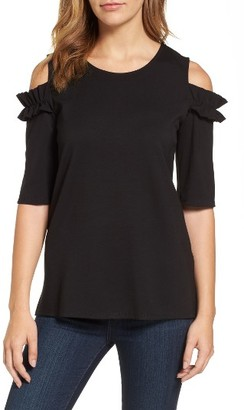 Women's Halogen Ruffle Cold Shoulder Tee $59 thestylecure.com