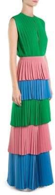 Sara Battaglia Pleated Colorblock Jumpsuit