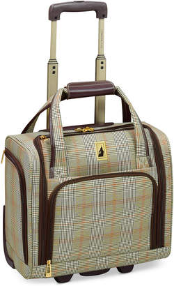 "London Fog Closeout! Knightsbridge 15"" Under Seat Tote, Available in Brown and Grey Glen Plaid, Created for Macy's"