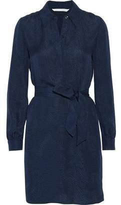 Diane von Furstenberg Seanna Belted Silk-Jacquard Mini Shirt Dress