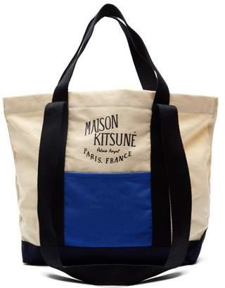 MAISON KITSUNÉ Logo Print Colour Block Canvas Tote Bag - Mens - Beige