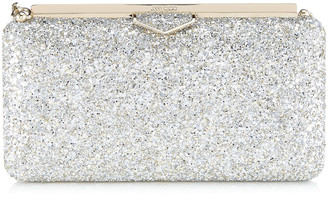 Jimmy Choo ELLIPSE Champagne Coarse Glitter Fabric Clutch Bag