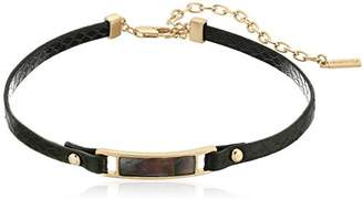 Kenneth Cole New York Mother of Pearl and Black Leather Choker Necklace