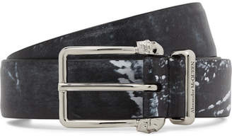 Alexander McQueen 3cm Black Printed Matte-Leather Belt - Men - Black