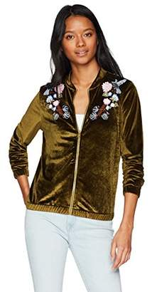 Hayden Rose Young Women's Teen Velvet Embroidered Bomber Jacket