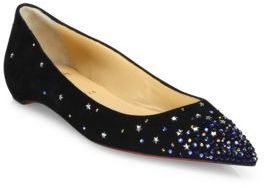 Christian Louboutin Gravitanita Star Stud Suede Flats $995 thestylecure.com