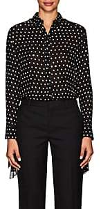 Saint Laurent Women's Polka Dot Silk Blouse - Black