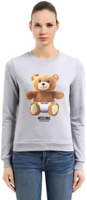 Moschino Teddy Bear Logo Print Cotton Sweatshirt