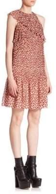 Giamba Plisse Bowtie Print Ruffle Dress