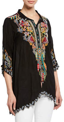 Johnny Was Festival Long-Sleeve Embroidered Georgette Tunic, Plus Size