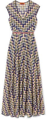 Missoni Metallic Crochet-knit Maxi Dress - Plum