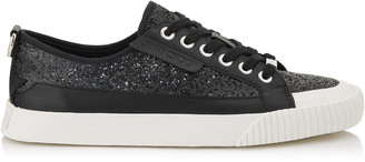 Jimmy Choo IMPALA/LO/M Black Galactica Glitter Fabric and Soft Leather Lo Trainer