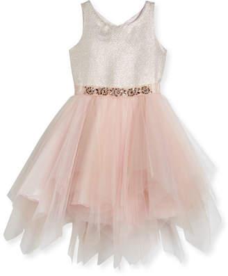 Zoe Metallic Tulle-Skirt Dress, Size 7-16