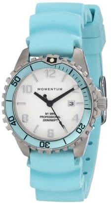 Momentum Women's Quartz Watch | M1 Mini by | Stainless Steel Watches for Women | Dive Watch with Japanese Movement & Analog Display | Water Resistant ladies watch with Date - White / Aqua Rubber