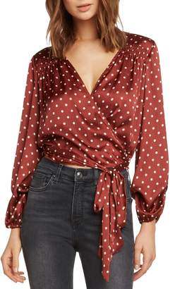 Willow & Clay Polka Dot Satin Wrap Blouse