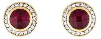 David Yurman 18K Tourmaline & Diamond Cerise Stud Earrings