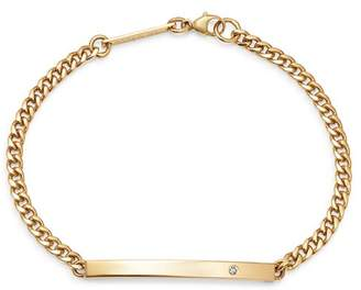 Chicco Zoë 14K Yellow Gold ID Bar Diamond Curb Chain Bracelet