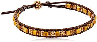 Miguel Ases Cube Miyuki Single Row Brown Leather Slip Knot Bracelet