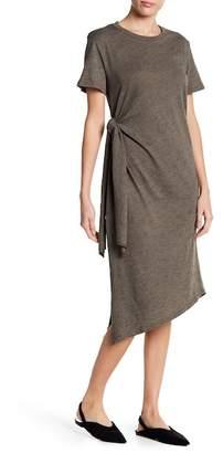 Lush Asymmetrical Side Tie Knit Midi Dress