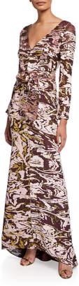 J. Mendel Velvet Burnout Long-Sleeve Gown