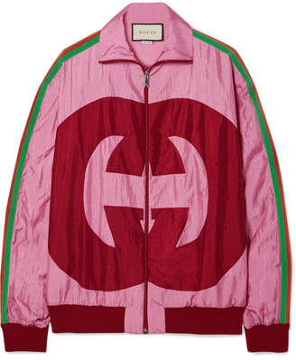 Gucci Grosgrain-trimmed Printed Shell Track Jacket - Pink