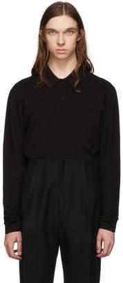 Bottega Veneta Black New Pique Long Sleeve Polo