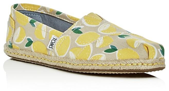 TOMS Women's Yellow Lemons Espadrille Flats
