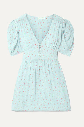 LoveShackFancy Ruby Floral-print Silk Crepe De Chine Mini Dress - Sky blue