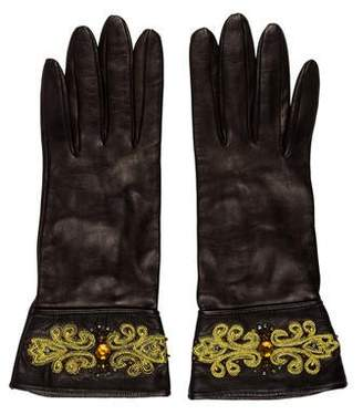 Portolano Embellished Leather Gloves