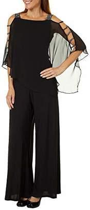 MSK Women's Silver Bar Sleeve Wide Leg Jumpsuit with Chiffon Overlay