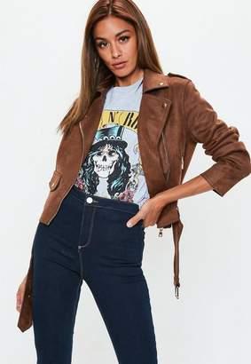 Missguided Chocolate Brown Suedette Raw Edge Biker Jacket
