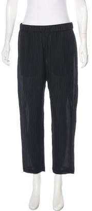 Theory Striped Silk Straight-Leg Pants
