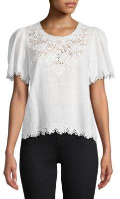 Rebecca Taylor Amora Embroidered Short-Sleeve Top