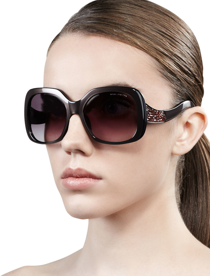Marc Jacobs Crystal-Temple Oversized Square Sunglasses, Black