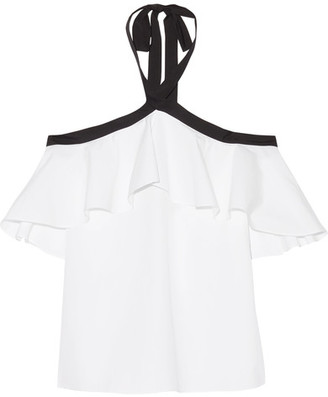 Alice + Olivia Alice Olivia - Alyssa Ruffled Cotton-poplin Halterneck Top - White $240 thestylecure.com