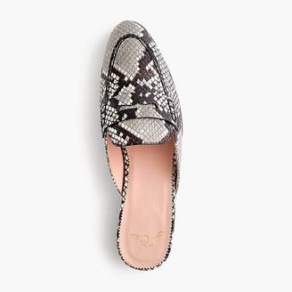 J.Crew Academy penny loafer mules in faux snakeskin
