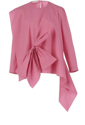 DELPOZO Poplin Blouse With Bow