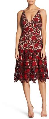 Dress the Population Lily Plunge Lace Fit & Flare Dress