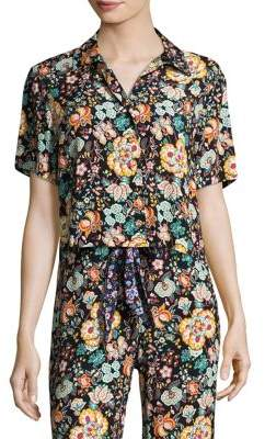 Frame Floral Button Front Mini Shirt