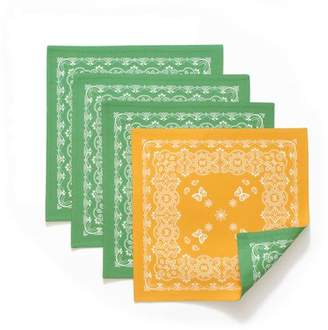 The Pioneer Woman Bandana Reversible Square Placemats, Green, Set of 4, Multiple Colors