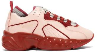 Acne Studios Manhattan Leather Low Top Trainers - Womens - Pink Multi