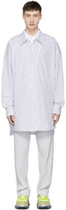 Juun.J Navy and White Striped Long Shirt