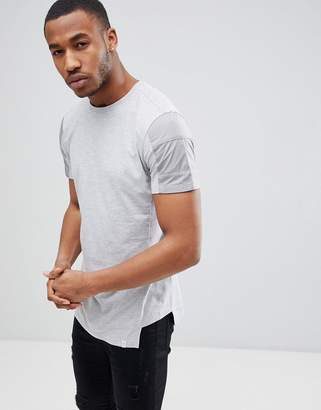 Jack and Jones Core Longline T-Shirt Panel Sleeve Detail