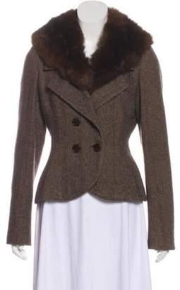 Ralph Lauren Purple Label Herringbone Fur-Trimmed Coat Brown Herringbone Fur-Trimmed Coat