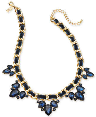 "INC International Concepts I.N.C. Gold-Tone Stone Cluster Ribbon Link Statement Necklace, 18"" + 3"" extender, Created for Macy's"