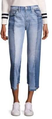 Frame Nouveau Le Mix Paneled Raw-Edge Jeans