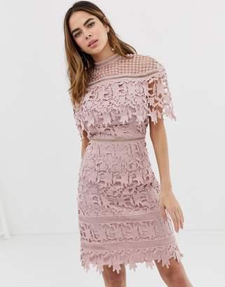 d276960b23 Chi Chi London high neck lace pencil midi dress in blush pink