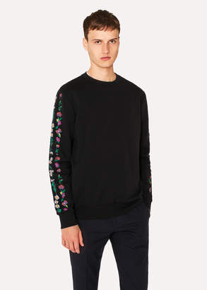 Paul Smith Men's Black 'Floral Stripe' Embroidered Sweatshirt