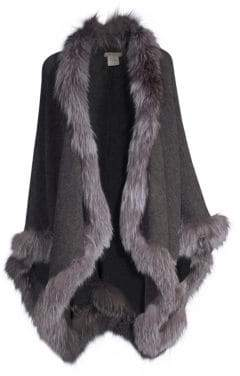 Alice + Olivia Women's Kamala Oversize Fox-Fur Trimmed Poncho - Charcoal